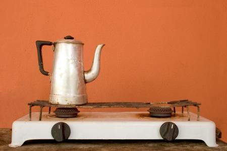 wood burner: Photo of Coffeepot Stock Photo