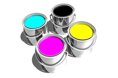 Photo of CMYK paint cans (3D) photo
