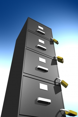 Photo of locked file cabinet (3D) Stock Photo - 19003037