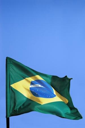 flagging: Photo of Brazil flag waving Stock Photo