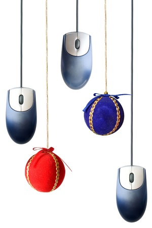 fv: Photo of Christmas balls and mice