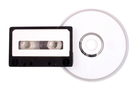 compact disk: Photo of Audio cassette to compact disk Stock Photo