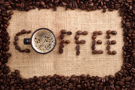caf: Photo of Coffee beans word