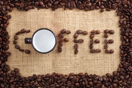 clr: Photo of Coffee word and cup