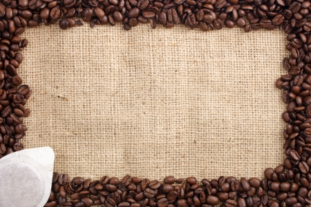 caf: Photo of Coffee beans and sachet Stock Photo