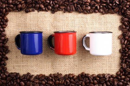 caf: Photo of Coffee beans, sizal and  cups