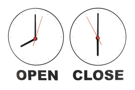 opening hours: Photo of Business opening hours Stock Photo