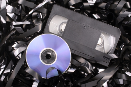 Photo of Blue DVD film Stock Photo