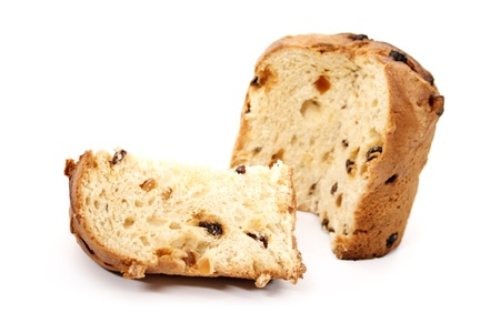 A panettone and slice on a white background. photo