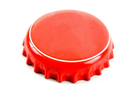 bottle with cap: Red bottle cap a great image for your job.