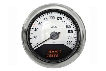 indicative: Chrome sport speedometer a great image for your job  Stock Photo