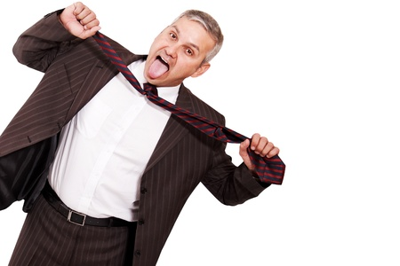 stifle: Guy in crisis isolated on white background Stock Photo