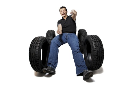 Drive safe with new tires on white background