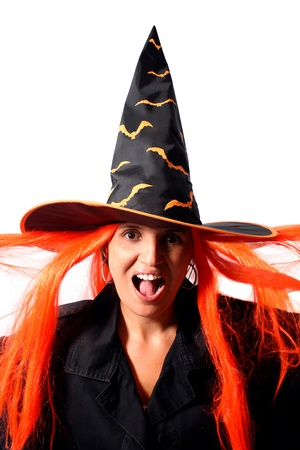 Witch scream isolated on white background photo