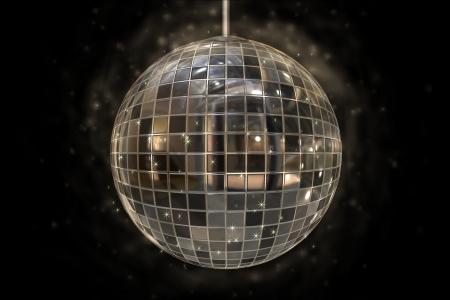 Disco ball on black background Imagens