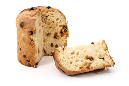 Christmas food - Panettone and slice on a white background. photo
