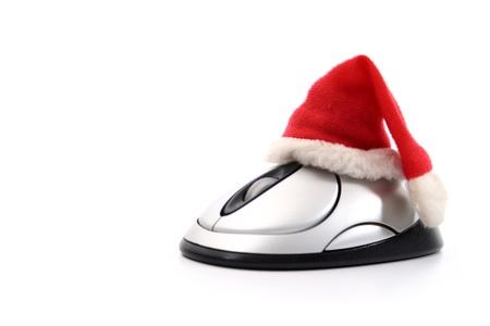 On-line Christmas shopping on white background photo