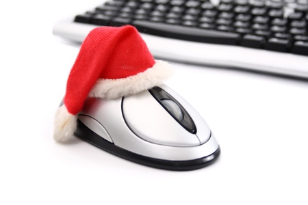 hz: On-line Christmas shopping on white background