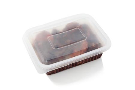 frozen food: Brazilian Feijoada in a closed package for frozen food or to go  Package on a white background