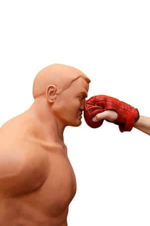 defensa personal: Pu�etazo en la cara, un entrenamiento de defensa personal aislado en el fondo blanco Foto de archivo