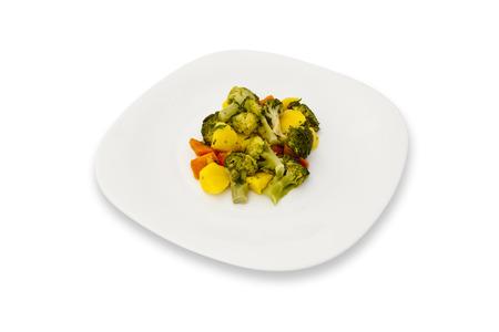 panache: Panache dish on a plate on white background Stock Photo