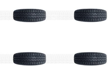 Car new tires alignment isolated on white background photo