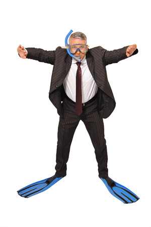 A Brazilian business man diving on white background photo