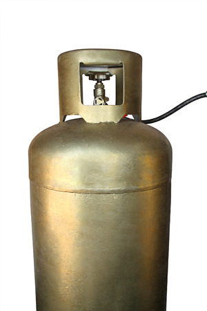 liquefied: Golden tank with LPG - Liquefied Petroleum Gas - Isolated on white background Stock Photo