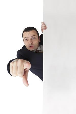 Bazilian man handpicking you on white background photo