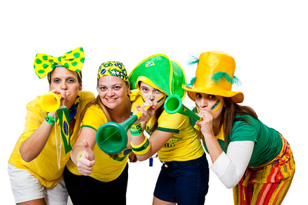 Brazilian girls celebrating brazil team goal on white background