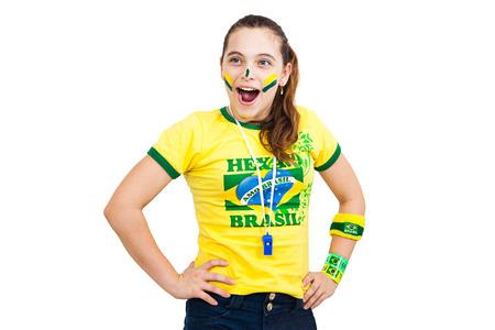 stunned: Brazilian supporter stunned on white background Stock Photo