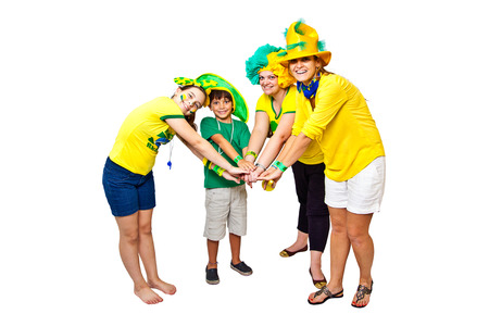 bounding: Brazilian fans stacking hands on white background - One for all and all for one