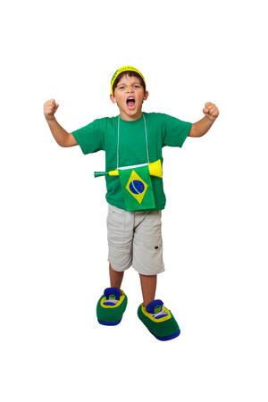 Brazilian mini fan with a stadium horn celebrating on white background Фото со стока