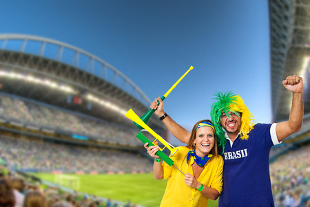 Brazilian couple at stadium photo