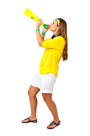 Brazilian girl standing celebrating brazil team goal on white background