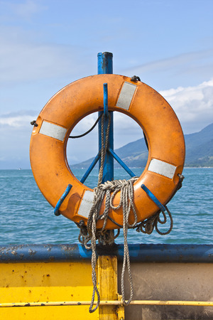 ferryboat: Hung Life buoy on a ferryboat Stock Photo