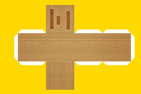 cut up: A flat cut for building a cardboard box - Mock up Stock Photo
