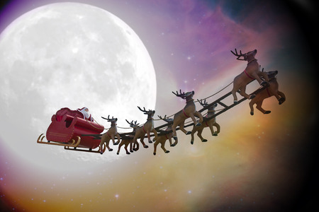 santa sleigh: Santa Claus riding a sleigh led by reindeers on a colorful night with a full moon