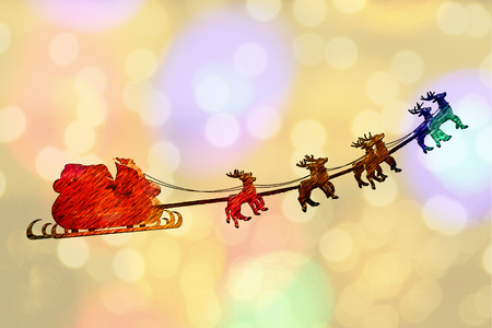 santa sleigh: Greeting card cover of Santa Claus riding a sleigh led by reindeers