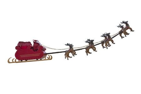 Santa Claus taking off his sleigh led by reindeers isolated on white background