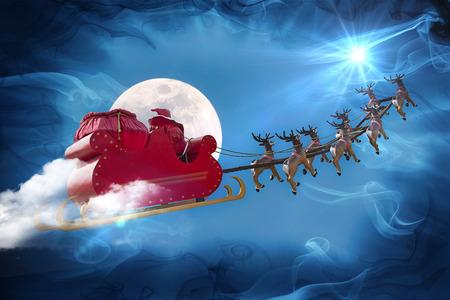 the farewell: Pap� Noel que monta un trineo conducido por renos siguiendo la estrella