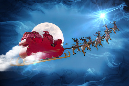 christmas santa: Santa Claus riding a sleigh led by reindeers following the star