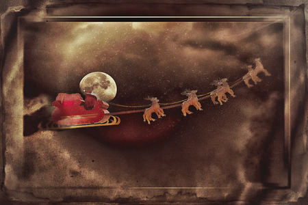 ligh: Santa Claus taking off his sleigh led by reindeers on a snowing night Stock Photo