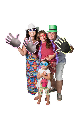 reasons: A brazilian family with big hands made of paper with copyspace isolated on white background. Gives the idea of five (reasons, advantages, etc), Hi, Hello, Bye, reception, welcome, waving, and etc.
