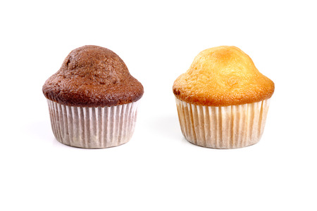caloric: Chocolate and cream muffins on white background