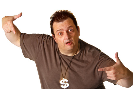 neckless: Brazilian man with a currency symbol neckless on white background. Stock Photo