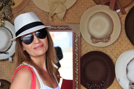 brazilian woman: Brazilian woman shopping hat at touristic place in Brazil