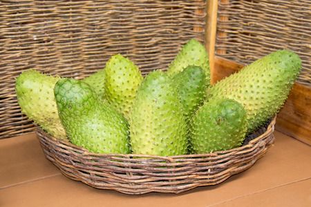 Annona muricata graviola is a fruit of the custard apple tree family in tropical climates through the world.
