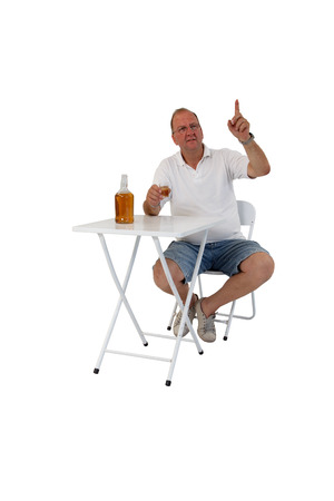 distillate: Brazilian man at a bar drinking cachaca and calling the waiter isolated on white background