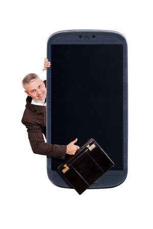 Smatrphone and a Brazilian business man with a briefcase and thumbs up on white background. Idea for carrier business smartphone business apps digital detox taking shots great apps accessing apps Internet blogs and others.